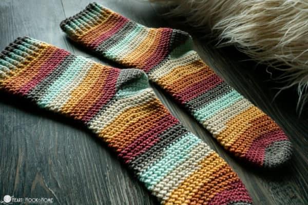Herringbone Socks: Free Crochet Pattern in FIVE Sizes