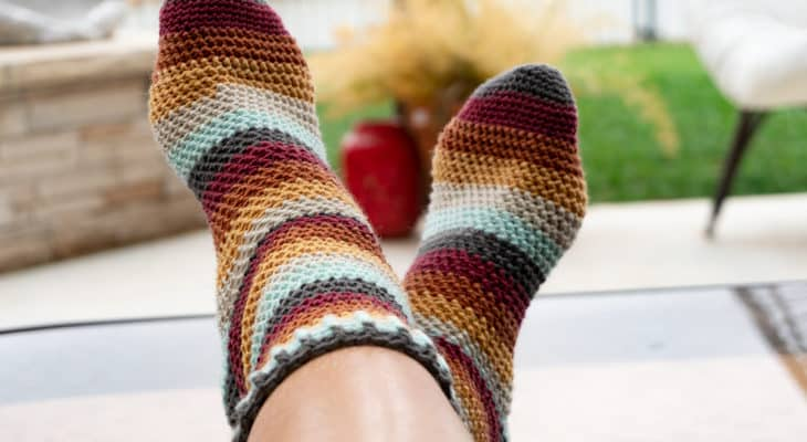 Herringbone Socks free crochet pattern