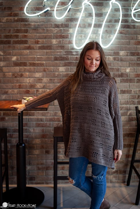 Filet Poncho crochet pattern