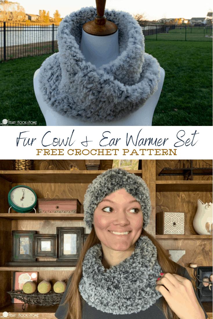 Fur Cowl and Ear Warmer Set Crochet pattern