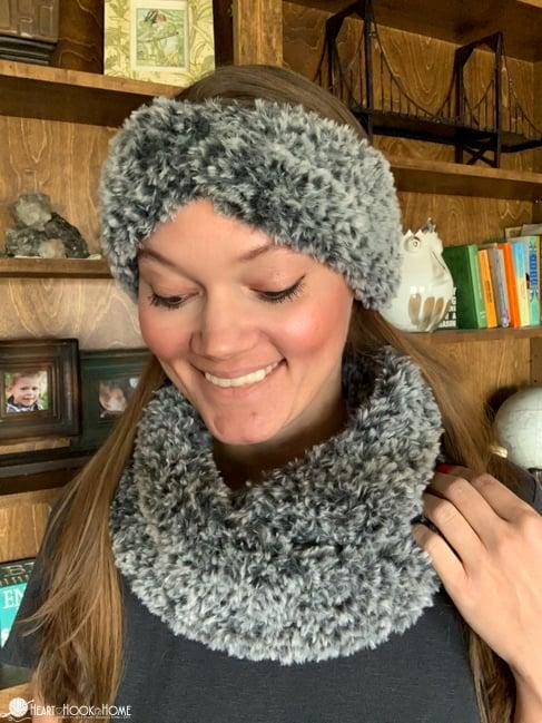 fur cowl set crochet