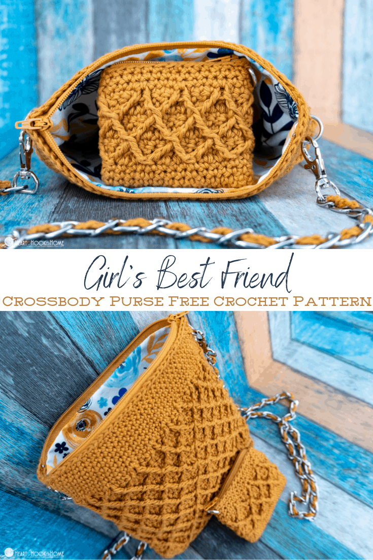 Free crossbody crochet purse pattern using the Diamond Stitch