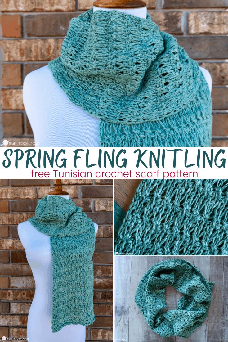 Tunisian Spring Fling Knitling Scarf
