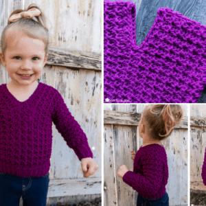 Child Size V-Neck Sweater crochet pattern