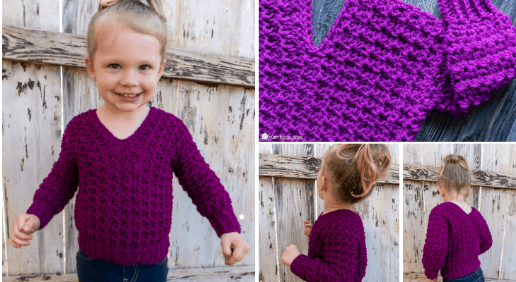Child Size V-Neck Sweater crochet pattern