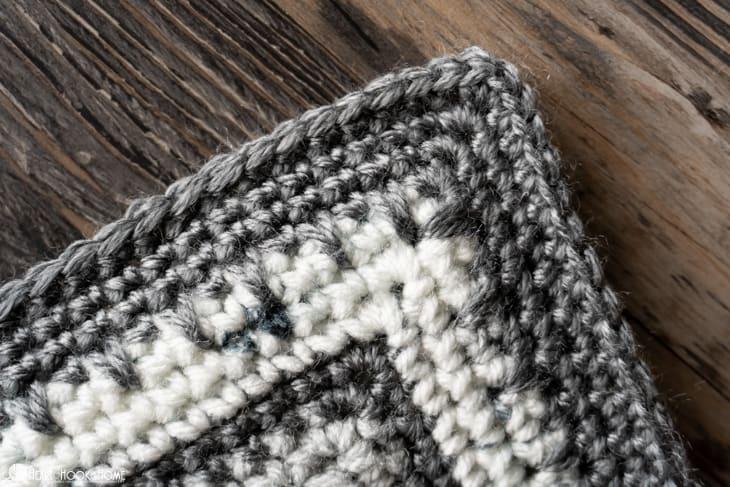 corner stitches of baby blanket