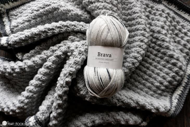 Brava speckled worsted weight yarn project