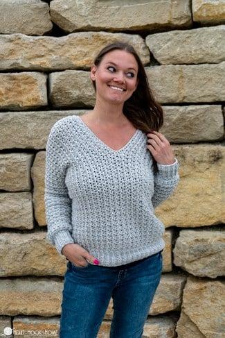 v-neck sweater crochet pattern