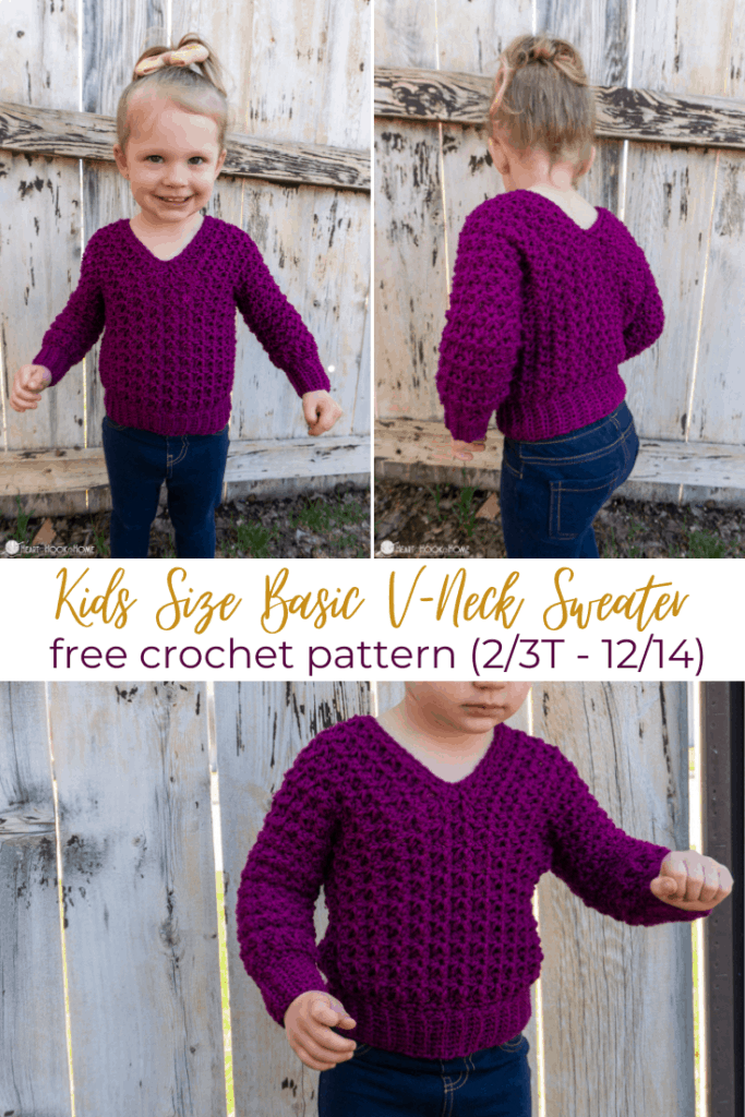 Child V-neck sweater free pattern