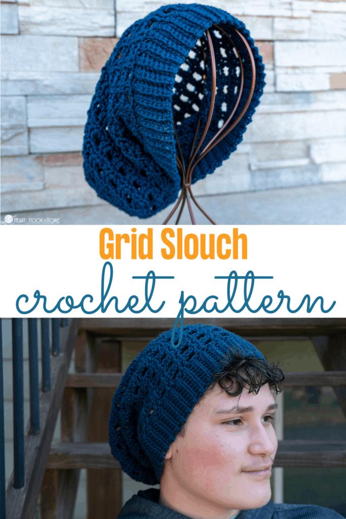Grid Slouch: Free Slouchy Hat Crochet Pattern