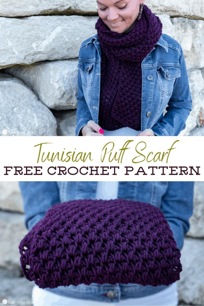 Tunisian Puff Stitch scarf