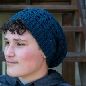 grid slouch hat crochet pattern