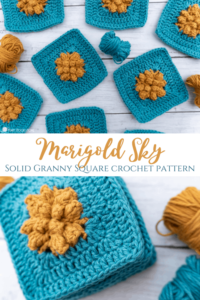 Marigold Sky crochet granny square free pattern