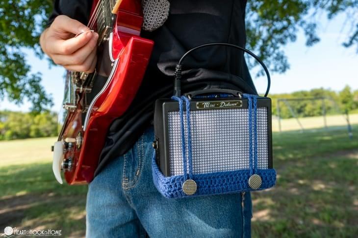 Mini Guitar Amp Belt Holster Crochet Pattern