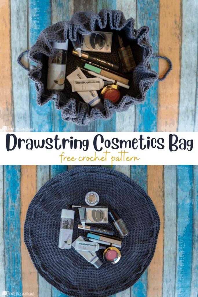 Cosmetics Drawstring bag free crochet pattern